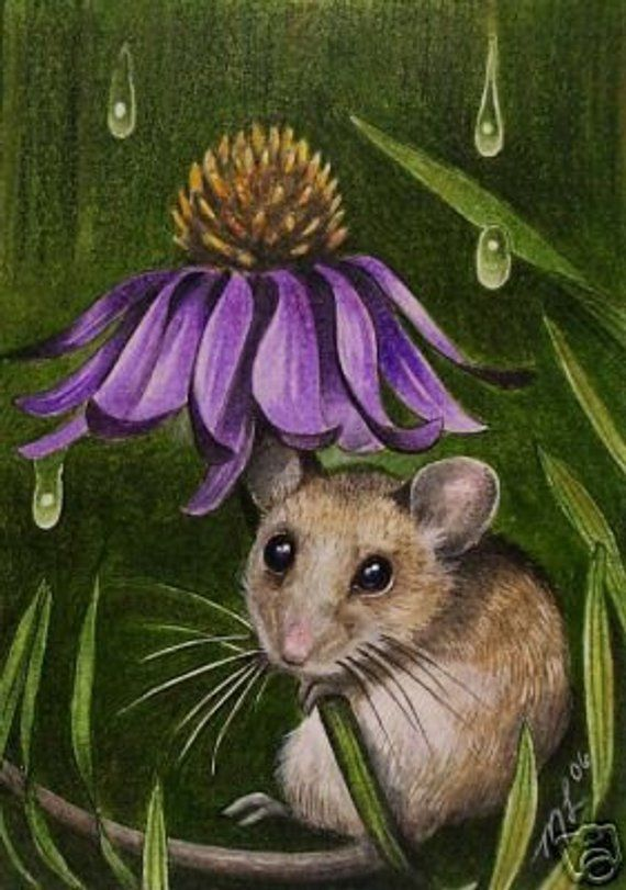 Duckling and Mouse ACEO Print Easter Art Melody Lea Lamb