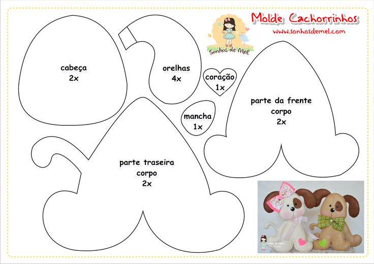 °°Molde Cachorrinhos... - Sonhos de Mel 'ੴ - Crafts em feltro e tecido | Dog template