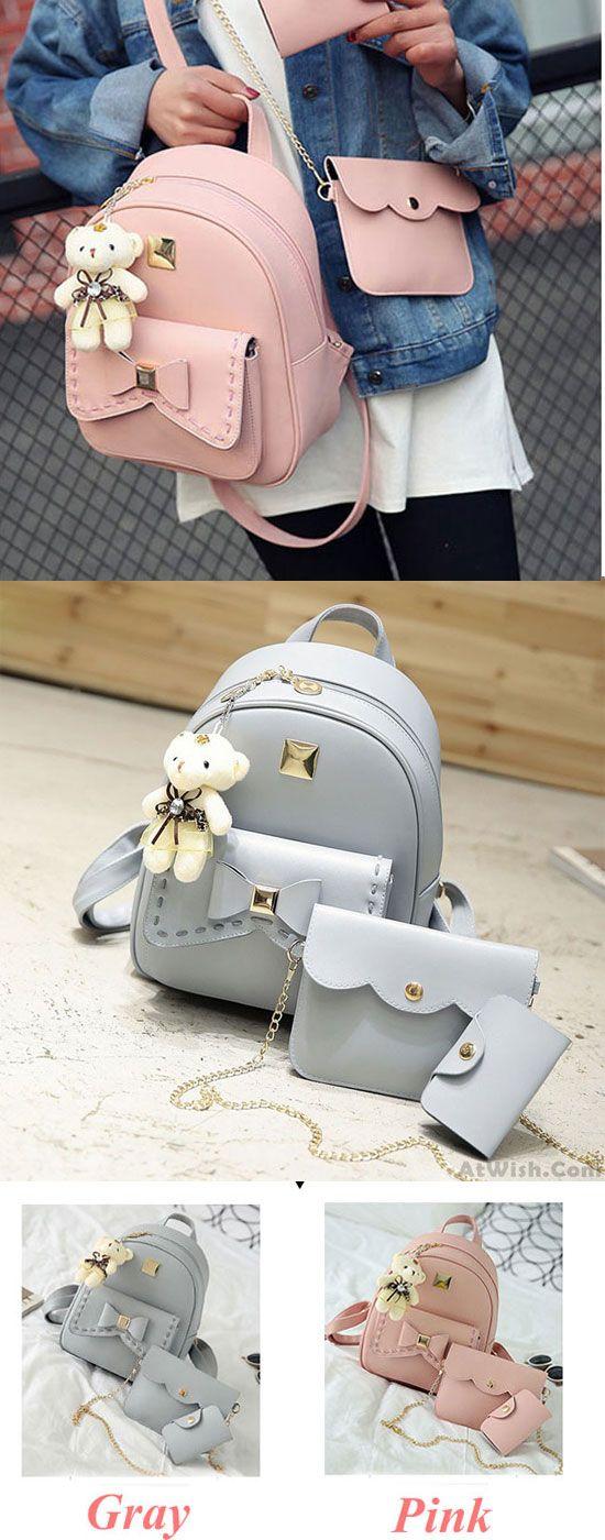 Lovely Bear Pendant PU School Backpacks Gray Pink Splicing Bowknot School Bag for big sale!  #PU #school #lovely #bear #pendant #college #bag #bow