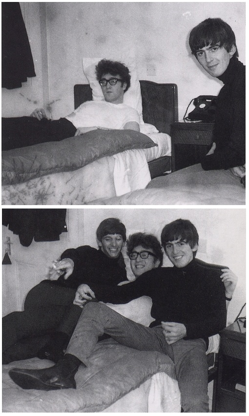John,George and Ringo in a hotel room,1963