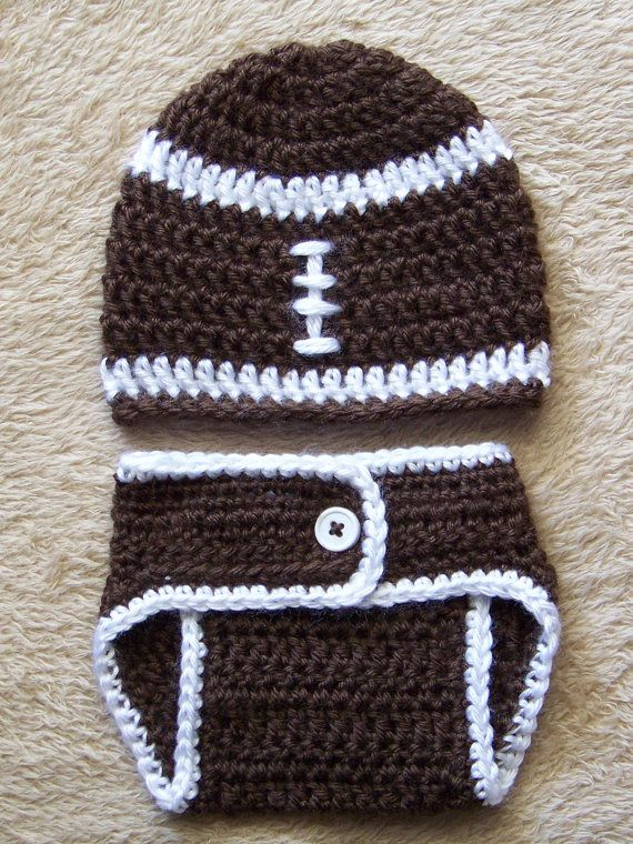 Baby Crochet Hat Diaper Cover Set Football by crochethatsbyjoyce