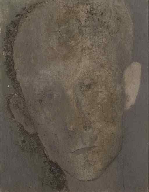 Павел Челищев – Автопортрет, Ок. 1928, Холст, масло, песок. 64,5 х 50,2 cm