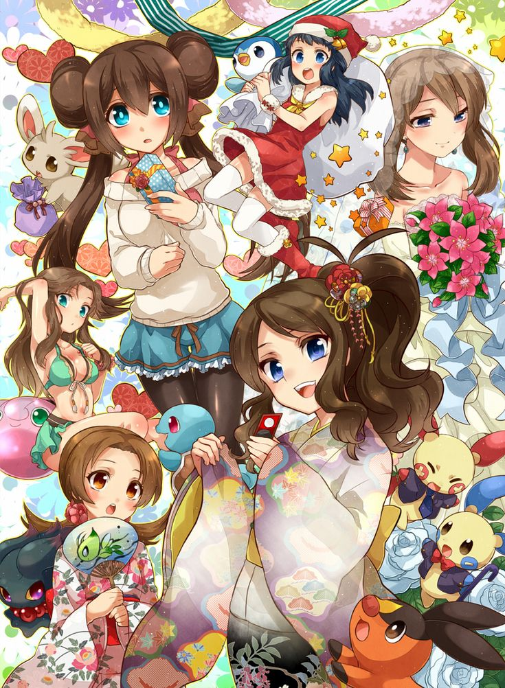 6+girls alternate_costume black_hair blue_(pokemon) blue_eyes blush brown_eyes brown_hair celebi double_bun dress front-tie_bikini gift hair_ornament haruka_(pokemon) hikari_(pokemon) irouha japanese_clothes jigglypuff kimono kotone_(pokemon) long_hair mei_(pokemon) minccino minun misdreavus multiple_girls open_mouth pantyhose piplup plusle pokemon pokemon_(game) pokemon_bw pokemon_bw2 pokemon_dppt pokemon_frlg pokemon_hgss pokemon_rse santa_costume shorts squirtle star tepig thigh-highs…