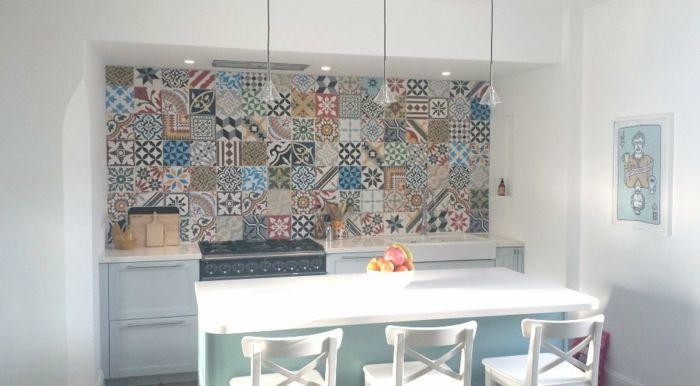 retro fliesen küche mit essbereich schöne muster küchenrückwand - fliesen für die küche