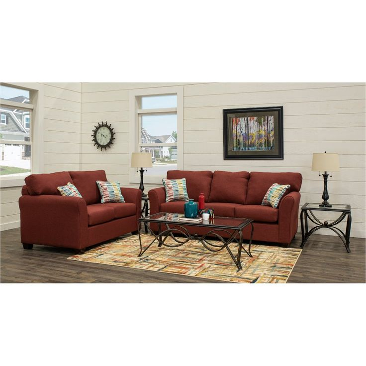 Best Ruby Red 7 Piece Living Room Set With Sofa Bed Wall St 400 x 300