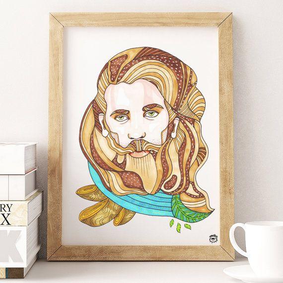 Beardo Handsome Man A4 A5 illustration print art art by mmuffn