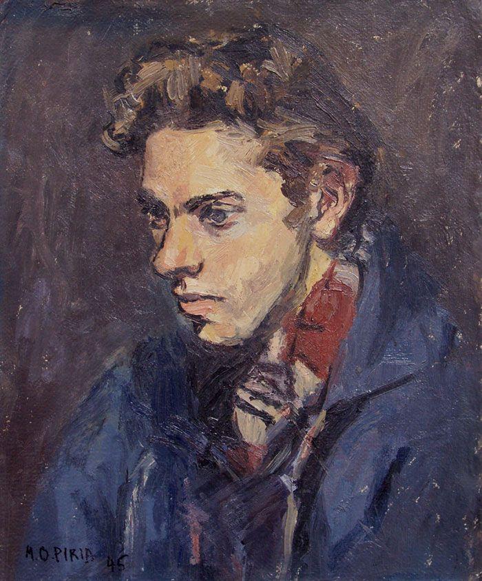 """María Olga Piria (Taller Torres García) """"Retrato de Horacio Torres"""" Óleo sobre cartón 45 X 38 cms. Año 1945 http://www.portondesanpedro.com/ver-producto.php?id=9506"""