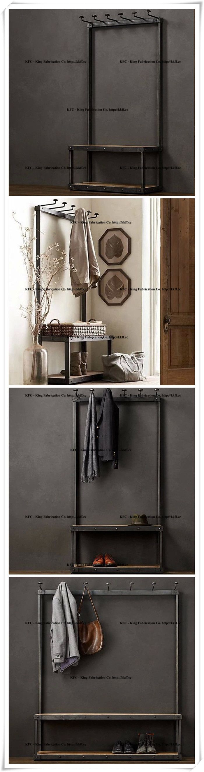 iron industrial furniture. antique retro wood furniture floor rack hanger coat wrought iron clothes rack_shelves_king fabrication co industrial