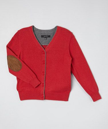 Love this Red Elbow Patch Cardigan - Toddler & Boys by GIL & JAS on #zulily! #zulilyfinds