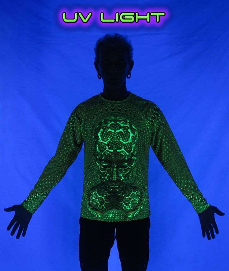 """Long Sleeve T : UV Micro Macro    An """"All Over"""" fully printed T shirt that will really grab people's attention.    Printed on flat fabric, then tailored.     Sublimation printing on a high quality UV Yellow polyester / Dri-Fit blended shirt.    Extremely vibrant colors that will never fade no matter how many times it gets washed.    Very soft """"feel"""" to the shirt, providing ultimate comfort.    UV active - Glows under black light !    Artwork by  Luminokaya"""