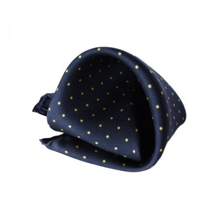 Canary Pocket square. Silk pochette (100%silk, twill). Pois print made in Italy.