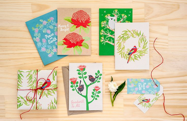 Earth Greetings Christmas 2014 cards and wrapping paper with hemp string.