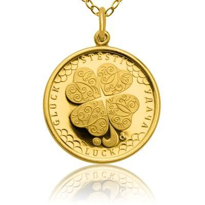 Zlatý přívěsek Čtyřlístek pro štěstí ve váze dukátu proof | Česká mincovna
