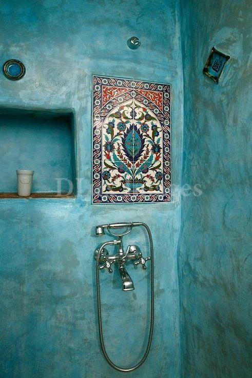 #tadelakt #bains Osez la couleur ! enduit à la #chaux imperméable