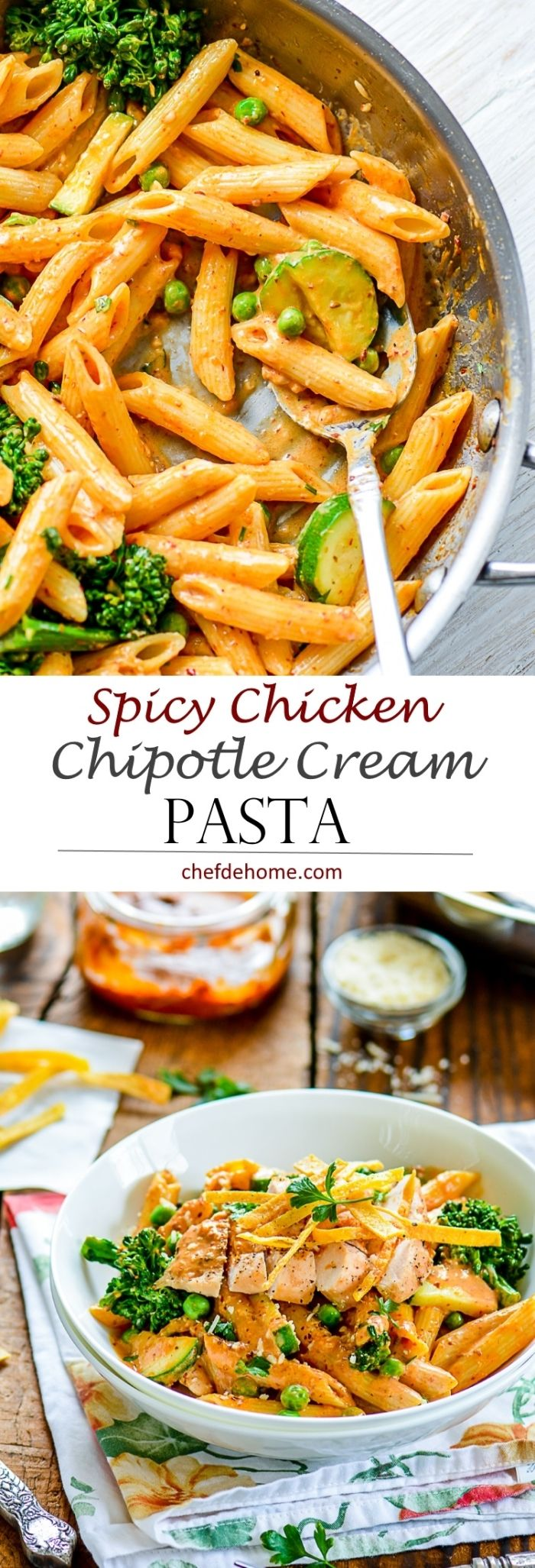 Creamy Spicy Tangy Chipotle Sauce Pasta - A spicy copycat pasta recipe from Cheesecake Factory | chefdehome.com