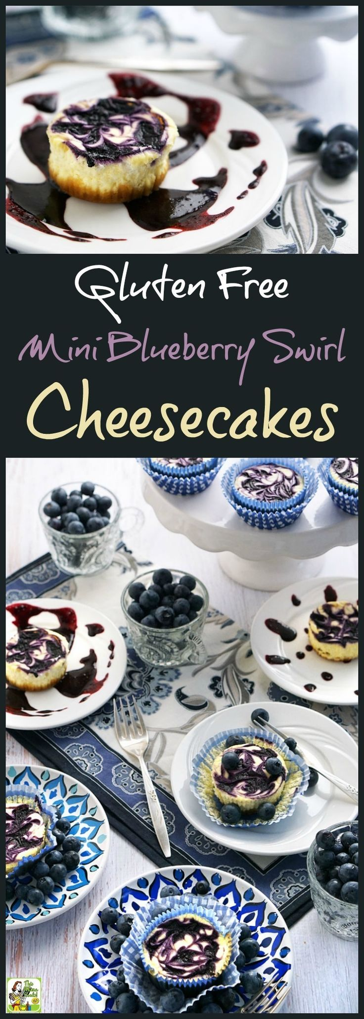 Looking for an easy gluten free cheesecake recipe that's also low in sugar and calories? Try this easy to make Gluten Free Mini Blueberry Swirl Cheesecakes recipe! It's a guilt free dessert recipe because these fresh blueberry mini cheesecake cupcakes are