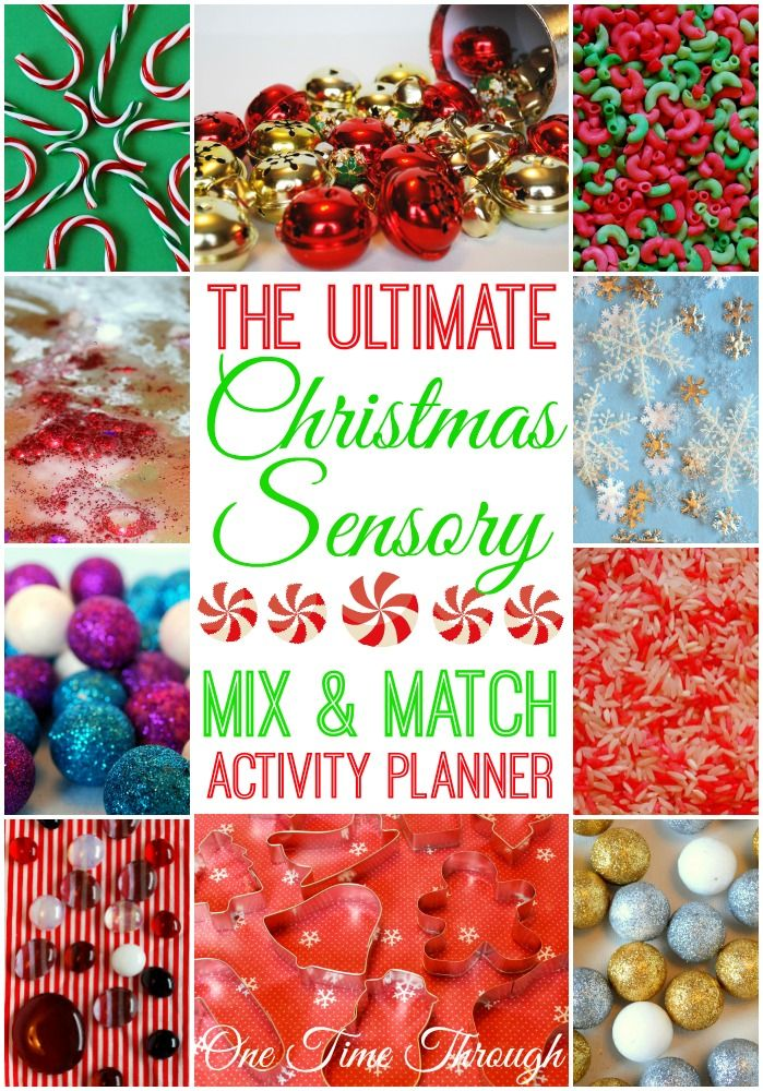 Christmas Sensory Fun + Free Mix and Match Sensory Activities Planner! Use our easy guide to create a unique sensory experience for your kids or students in seconds! {One Time Through}