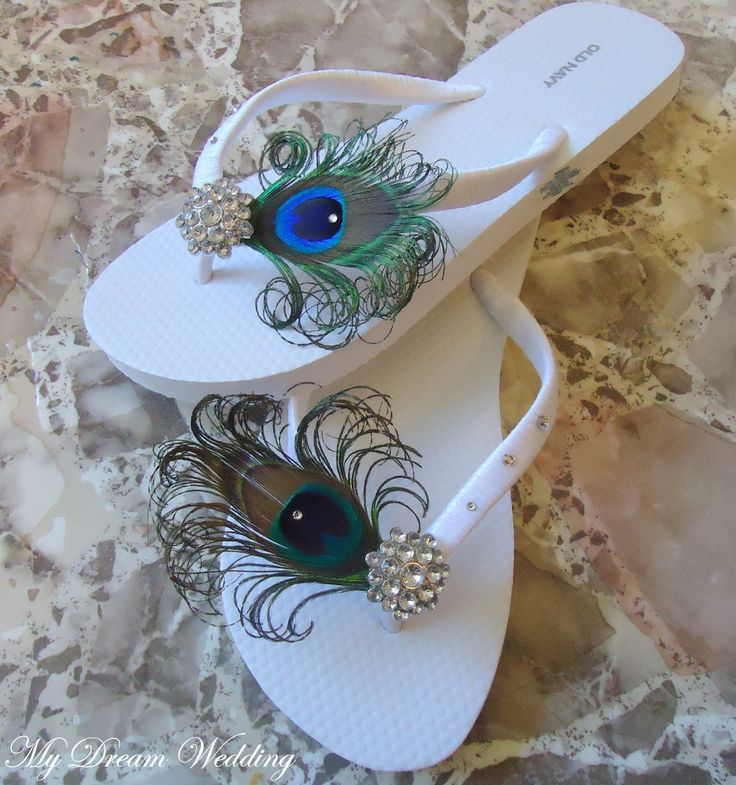White Peacock Flip flops with Swarovki Crystals. Bridesmaid Bridal Party, made in your wedding colors -TROPICAL WEDDING Collection-. $34.99, via Etsy.