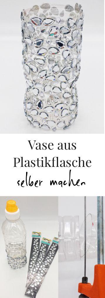 DIY Upcycling Idee. Vase aus Plastik Flasche selber machen. Schöne bastel und Deko Ideen. Aus alt mach neu, Flasche zur Vase upcyceln. Einfache Schritt für Schritt Anleitung.