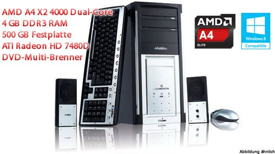 PC AMD A4 X2 4000 Dual-Core 3,2 GHz günstig mit Vodafone Power Spar Vertrag von Talkline / Mobilcom Debitel!