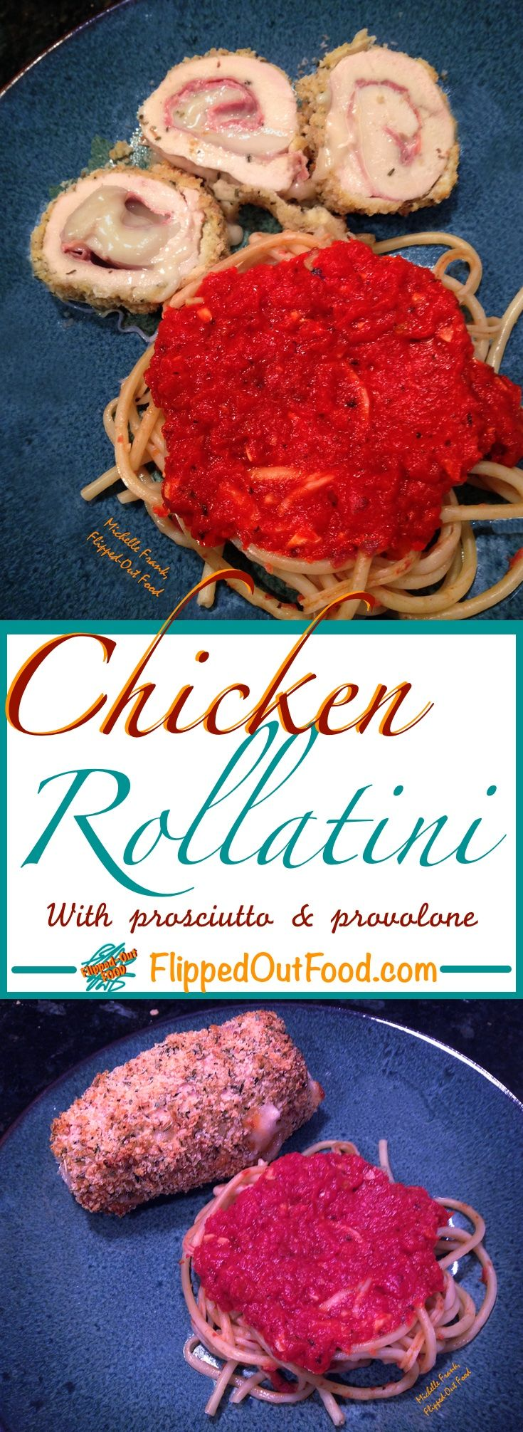 Chicken Rollatini make a romantic meal for two. Crunchy on the outside and ooey-gooey delicious inside. Perfect for Valentine's Day! via @FlippedOutFood