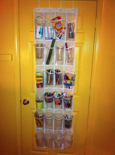 Over door storage container (note the plastic cups for easy removal and to protect the plastic from puncturing). | Homeschool Organizing | Pinterest | School s…