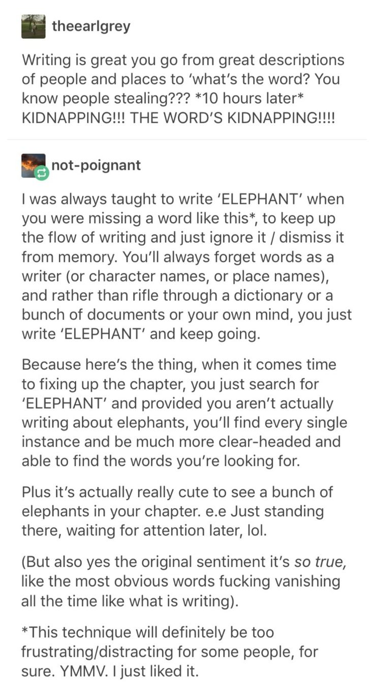 "Use ""Elephant"" when you can't think of the right word. Ctrl+F when you revise to find and replace them all."