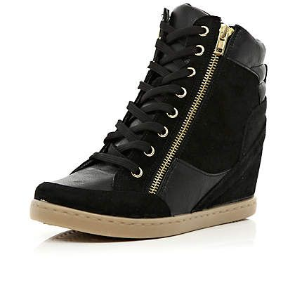 Black contrast panel wedge high tops - high tops - shoes / boots - women
