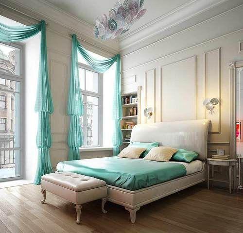 Модный мятный дизайн интерьера