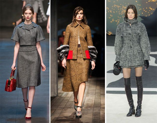 Fall/ Winter 2013-2014 Fashion Trend #9: Tweed Trend: Traditionally known as a masculine material, tweed radiates elegance and is used in a myriad of forms this fall. Provocative and sexual total tweed looks are a great fall 2013 trend. You can get inspired from the fall collections of Dolce & Gabbana, Prada, Chanel and Haider Ackermann.