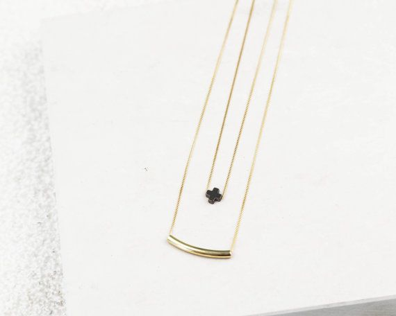 Cross Layered Necklace Gold Double Necklace by TopologyHandmade