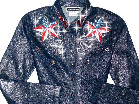 bling western showmanship shirts | ... Designs > Rodeo star shimmery denim rodeo queen barrel racing shirt