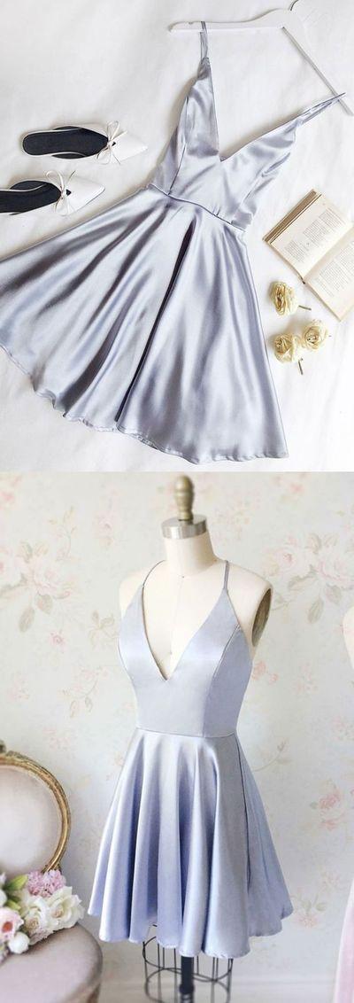 Chic a-line ,v neck ,homecoming dresses ,short prom dress ,simple homecoming dresses from HotProm