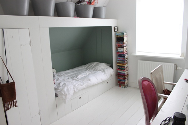 Great idea for angled ceiling rooms. Colours need to be brighter though.