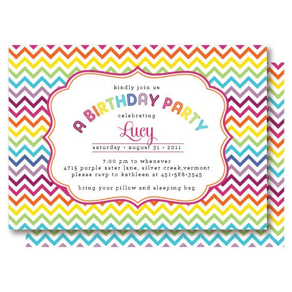 Rainbow Chevron Birthday Invitations