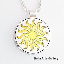 Stunning Sun-flower Pendant in 23K Gold Leaf & S.Silver by Victoria Varga, earrings available.