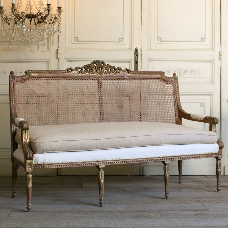 {Circa 1940} One of a Kind Vintage Settee Cane Weathered Gilt