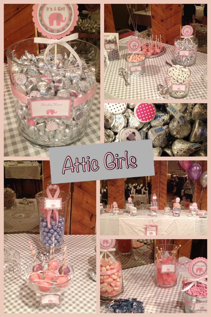 Pink candy table for a baby shower!