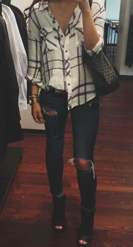 ripped skinnies . booties . plaid shirt half tucked