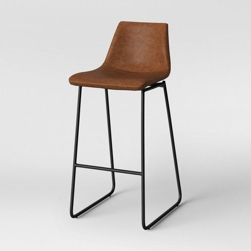 Bowden Faux Leather And Metal Barstool With Black Legs