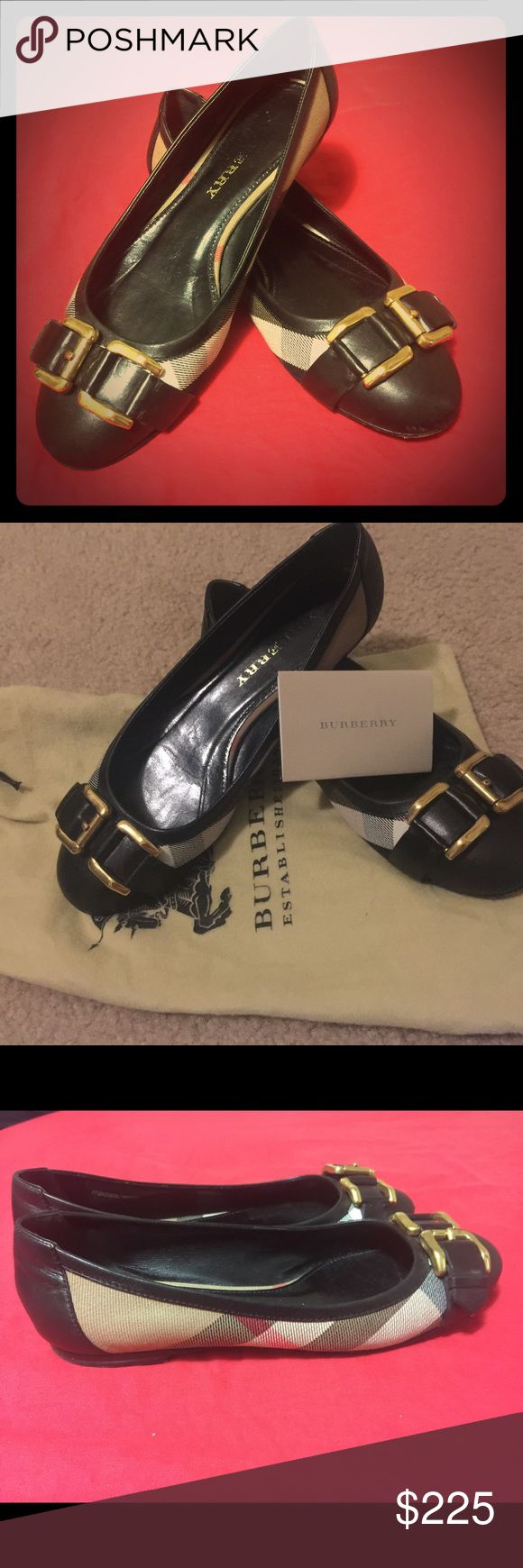 Beautiful Burberry flats -wore them 4 times Bought them size 7 and felt like they fit. I am a 7.5 and I tried to wear them  (because they looked sooo good) 4 times and every time I went home and changed. But they look so good on the foot. I really want to give them to someone who is going to really enjoy wearing them. Poor shoes, they are like new. The black soles are a little worn out because they are covered with a thin layer of black leather so that happened from the first time I wore…
