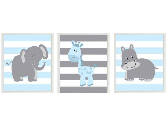 Nursery Art  Elephant Giraffe Hippo Safari Wall Art -Blue Gray Stripes  Print Set 3 8x10 - Baby Boy Children Kid Room Home Decor Wall Art