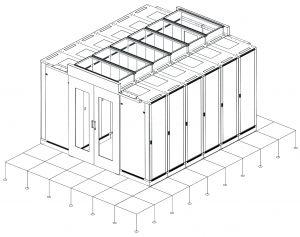 """Data Center Cold Pool System esquema  • Cumple con ANSI/EIA, RS-310-D, DIN41491; PART1, IEC297-2,  DIN41494; PART7, GB/T3047.2-92  • Compatible con ETSI y los estándares de 19"""".  • Acabados: desengrasado, decapado, fosfórico, pintura en polvo.  • Cumple con RoHS.  • Puerta corredera de fácil apertura y cierre.  • Materiales: lámina de chapa de acero y cristal templado.  • Viga de soporte en la parte superior de 1,5 mm. de grosor  ethernetwork.es"""