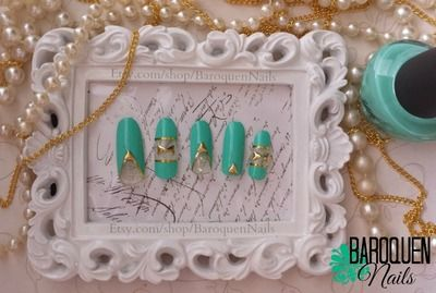 Turquoise Negative Space Nail Art - Hand Crafted False Nail Set