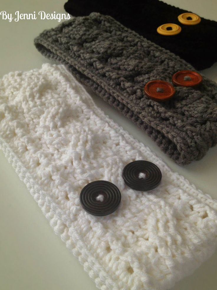 By Jenni Designs: Crochet Women's Cable Ear Warmer Free Pattern