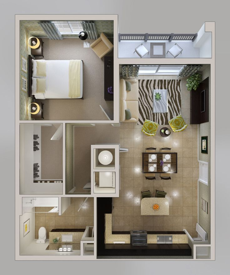 3D floorplans — leeward: 1-bedroom apartment floorplan