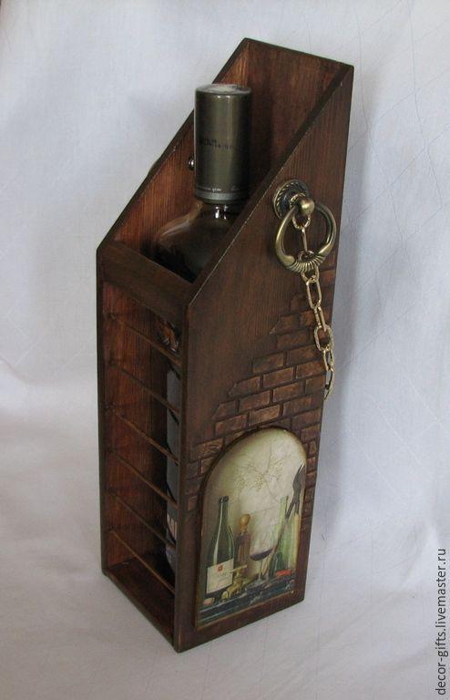 """Купить Короб для вина """"Винный погребок"""" (подарочный, дерево, декупаж) - коричневый, короб для вина"""