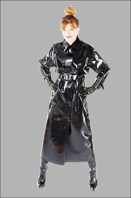 """Black PVC Raincoat. """"I should warn you. You are impotent. You have a desire for shiny raincoats, big style. You have five aneurysms. You are turned on, but you can't release the pressure! You don't exist. Pop Pop Pop Pop Pop x"""""""