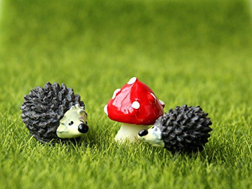 Miniature Garden Fairy Ornament Hedgehog & Mushroom Set