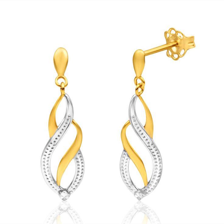 Fancy Diamond cut Drop Stud Earrings in 9ct Gold